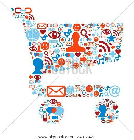 Shopping Cart symbool met Media pictogrammen textuur
