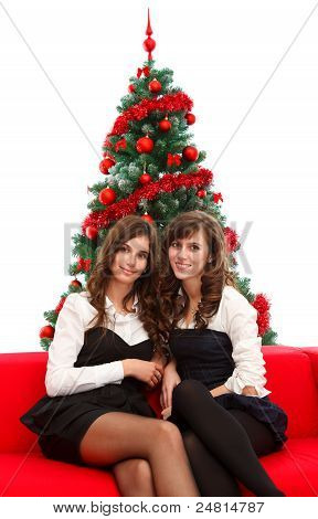 Elegant Girls At Christmas Time