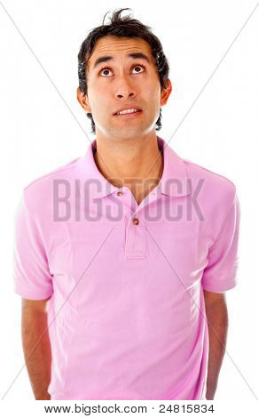 Young man looking worried - isolated over a white background