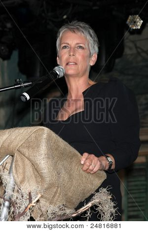 LOS ANGELES - OCT 30:  Jamie Lee Curtis speaks at the sCare Foundation Halloween Launch Benefit at Conga Room - LA Live on October 30, 2011 in Los Angeles, CA