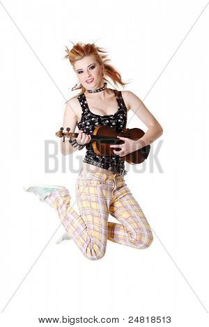 Jumping punk girl with fiddle. Isolated on white.