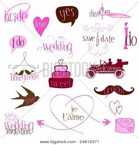 Romantic Wedding Design Elements -for Invitation, Scrapbook In Vector