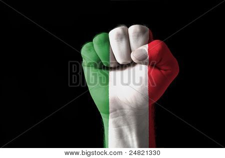Fist Painted In Colors Of Italy Flag