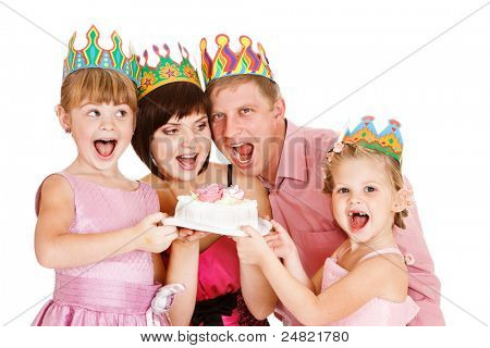 Cheerful family holding cake, isolated