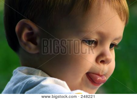 Closeup Of Toddler Concentrating