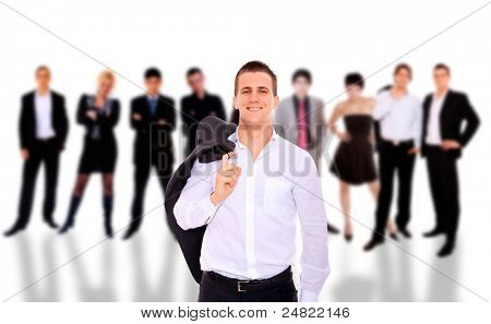 Business people over white background