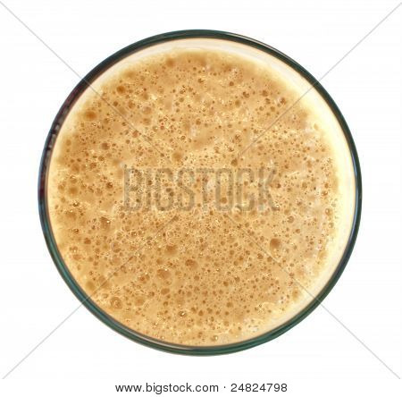 Top Of A Dark Stout Beer Isolated On White