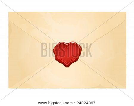 aged vintage envelope with blank heart wax seal