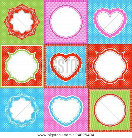 colorful polka dot frame pattern heart collections