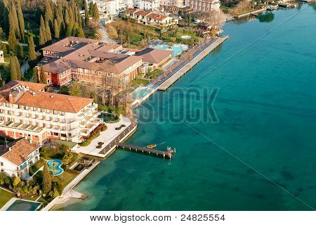 Aerial View Of Sirmione, Lake Garda, Italy.