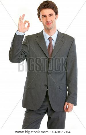 Happy Modern Businessman Showing Ok Gesture