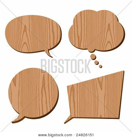 speech bubble collection wood plank grain