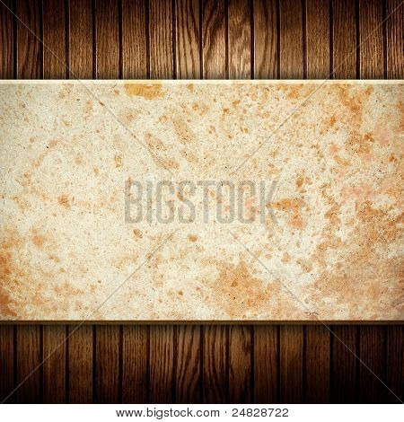 marble stone on wood background