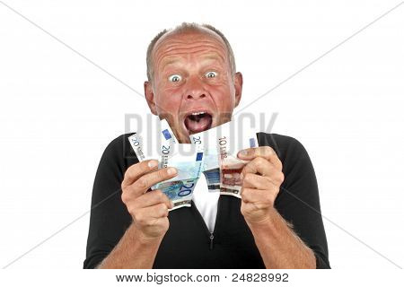 Man totally excited after winning the lotery