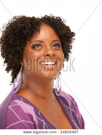 Beautiful African American Plus Size Female Model Headshot Isolated on White Background
