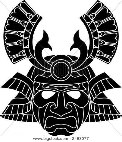 Máscara do temível Samurai monocromático
