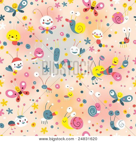 cute butterflies beetles snails pattern