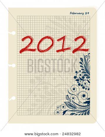 Blatt Business Datebook 29. Februar 2012. Datum zu springen. Vektor-Illustration.