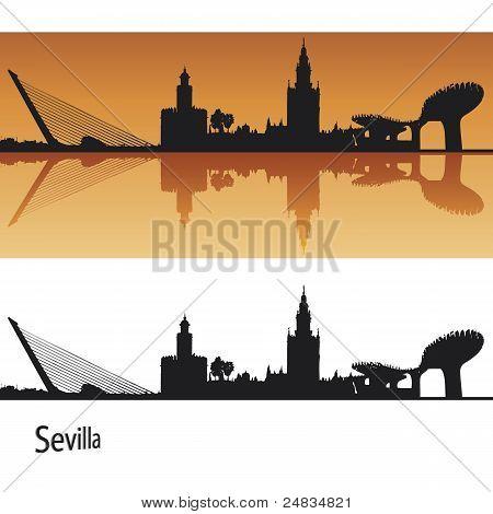 Barcelona skyline in orange background