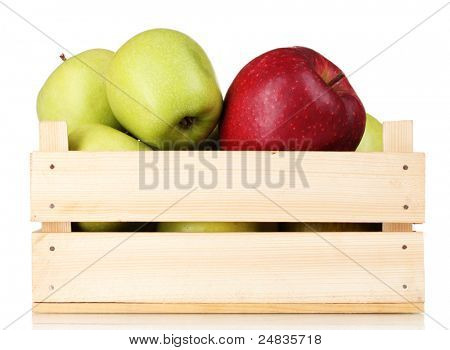 juicy apples in a wooden crate isolated on white