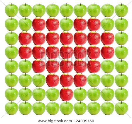 Green wet apples with red apples in between on a white background