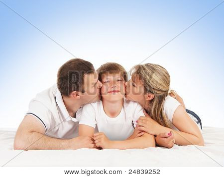 Happy family isolated over blue background
