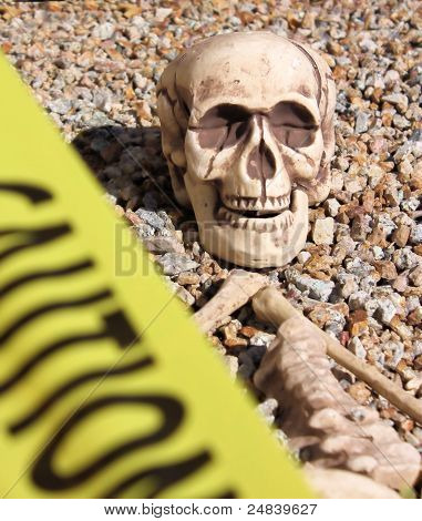 Skeleton Behind Caution Tape