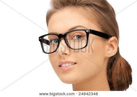 closeup picture of lovely woman in spectacles