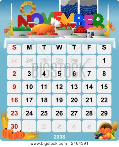 Monthly Wall Calendar November 2008 - Version 1