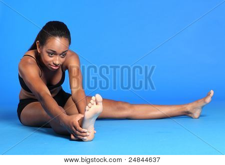 Young Black Woman Hamstring Stretch Exercise
