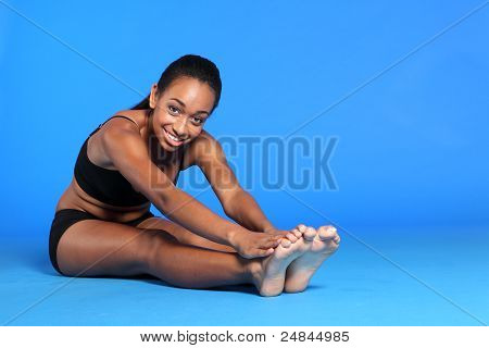 Beautiful Happy African American Woman Exercise