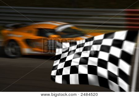 Orange racing Car und karierten / Karierte Flagge