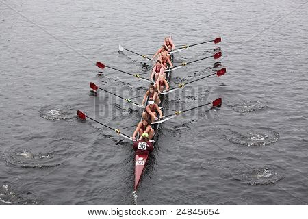 Fordham University women's Eights races in the Head of Charles Regatta