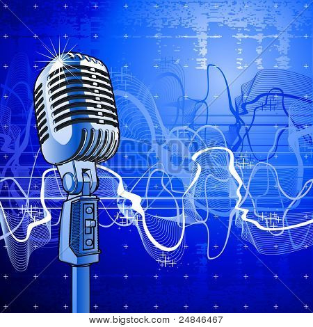Professional microphone in beams of blue light & sound wave. Bitmap copy my vector ID 29591776