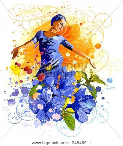 The charming girl on an orange watercolor background, tropical flowers - Hibiscus & vintage floral ornament. 14650531