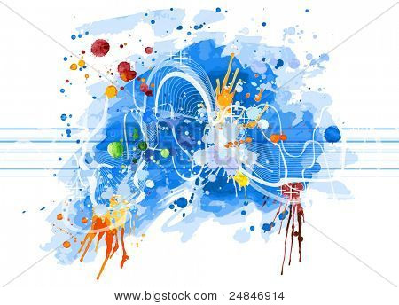 Blue watercolor background & sound wave. Bitmap copy my vector