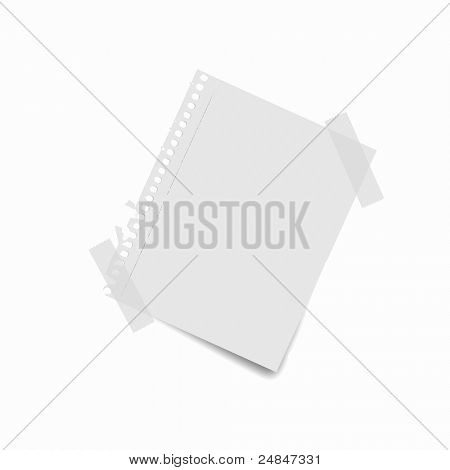 Sheet of blank paper for notes against white background