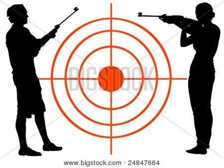 Vetor desenho homens e mulheres com armas