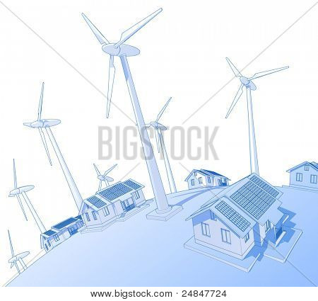 Industry concept: wind-driven generators & houses with solar power systems. Bitmap copy my vector ID 18819319