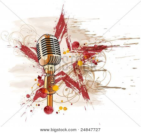 Rock star. Microphone, grunge watercolor star & floral ornament. Bitmap copy my vector ID 14649700