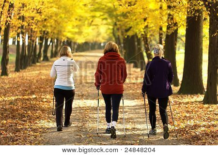Three women in the park - Nordic walk