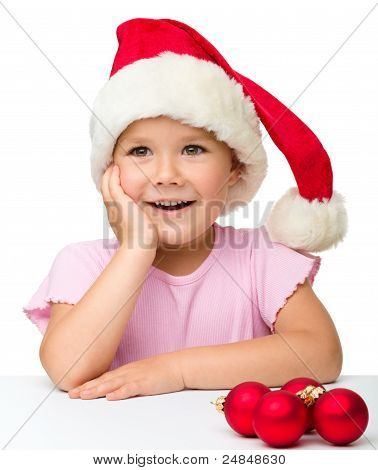 Cute Little Girl Wearing Santa Hat