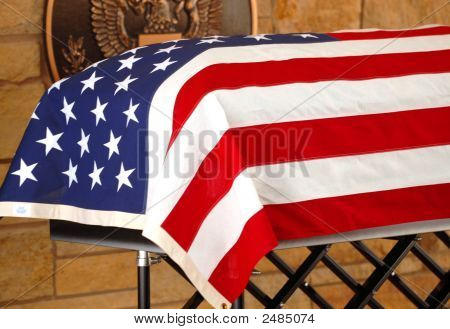 Coffin Draped With The American Flag