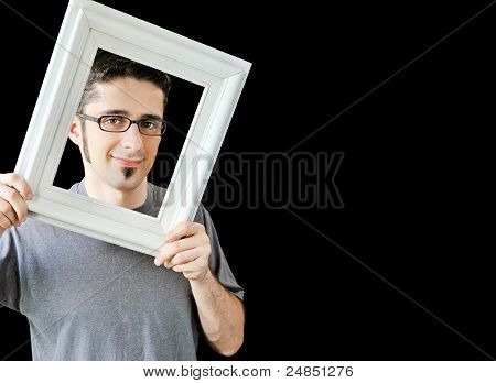 Multiple Photos Of Young Man With Vintage White Frame