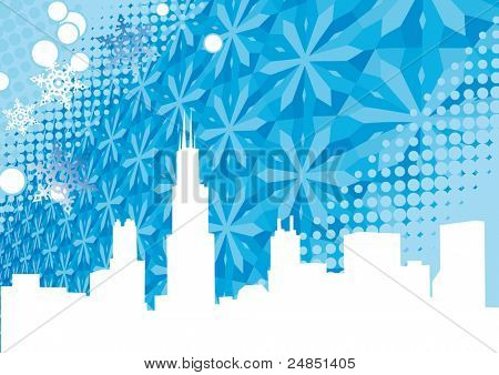 Chicago city winter background with snow wave