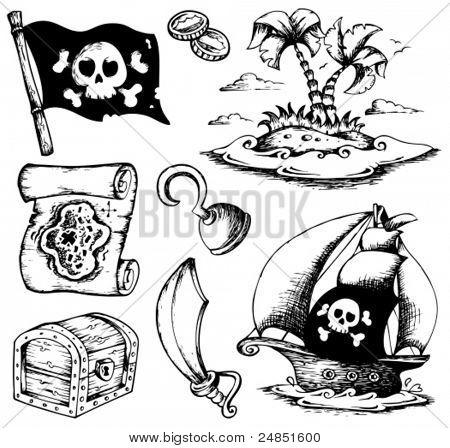Dibujos con tema de piratas 1 - ilustración vectorial.