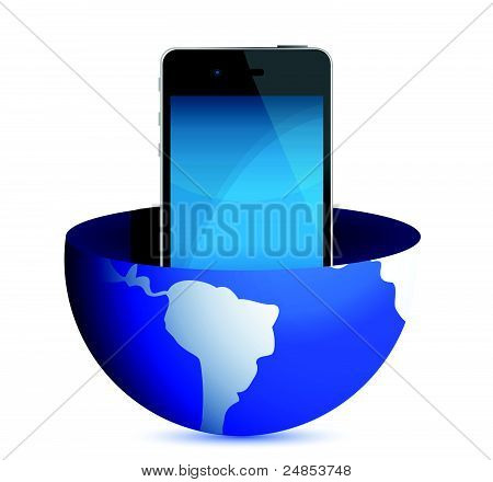 phone inside a globe illustration design