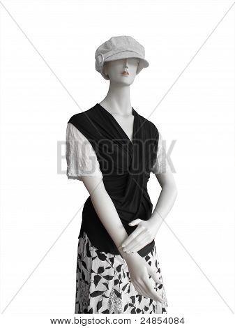 Manequin In White Cap Black Top