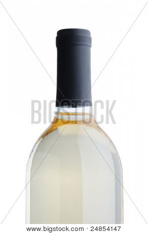 Closeup of a White Wine Bottle without label over a white background.