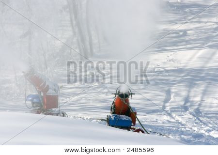 Two Man Made Snow Machines